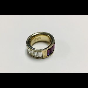 Coach Purple & Clear Gemstone Yellow Gold Ring